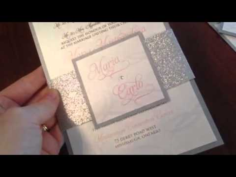 glitter belly band wedding invitations youtube - Wedding Invitation Belly Band