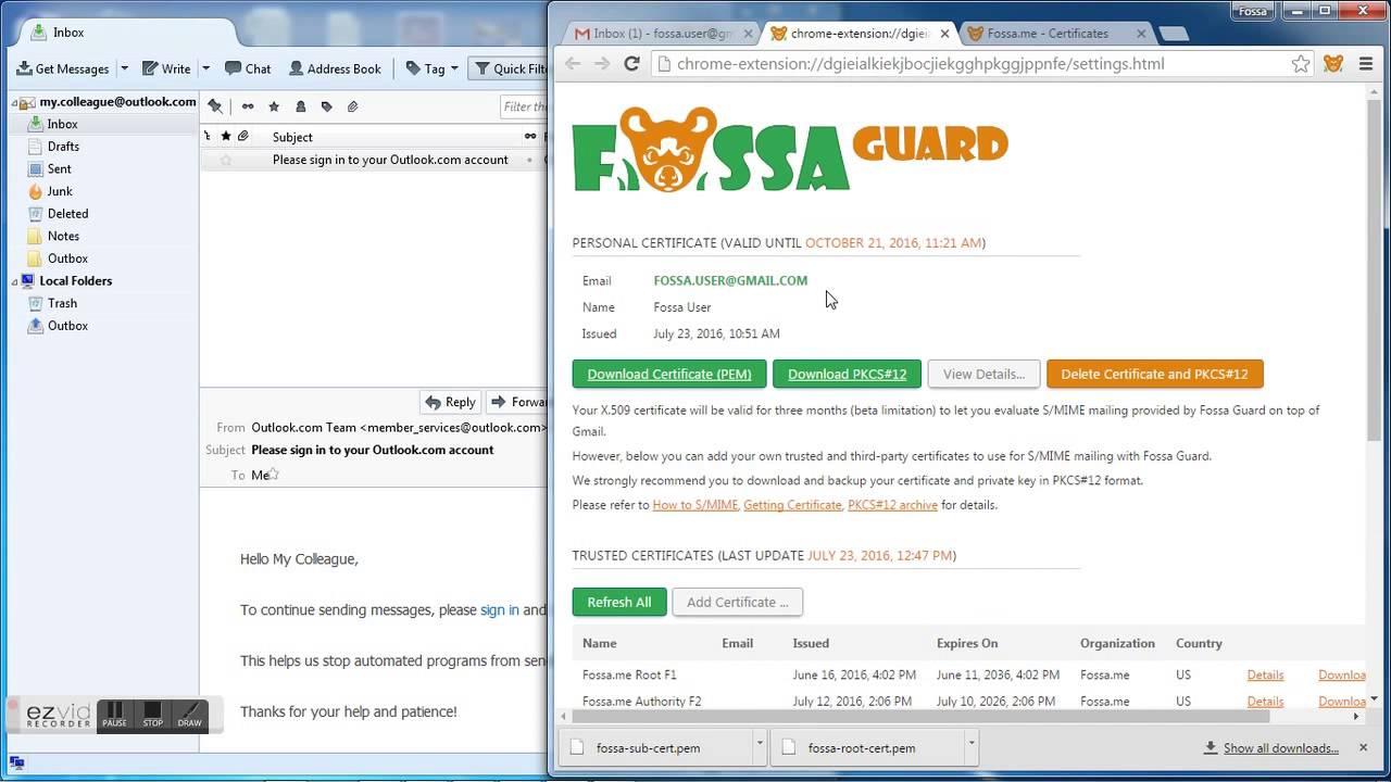Smime Gmail Fossa Guard Send Smime From Thunderbird Youtube