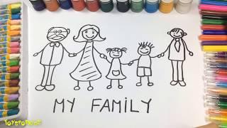 Hướng Dẫn Bé Vẽ Gia Đình | Vẽ Bố Và Mẹ | Bé Tập Vẽ Bảng Chữ Cái