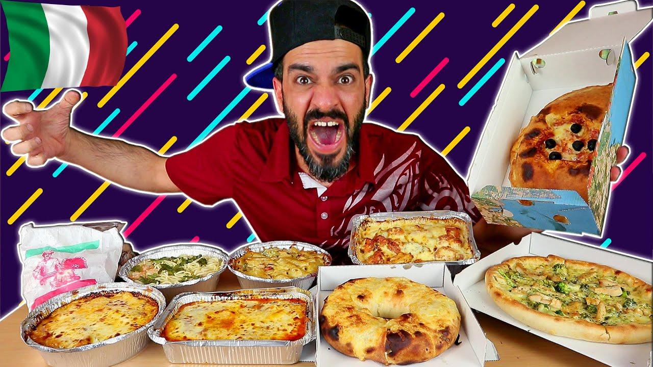تحدي اكل سفرة إيطالية مليئة بالجبنة وبمعدل ۱٥ الف سعرة حرارية Italian Food Feast Challenge