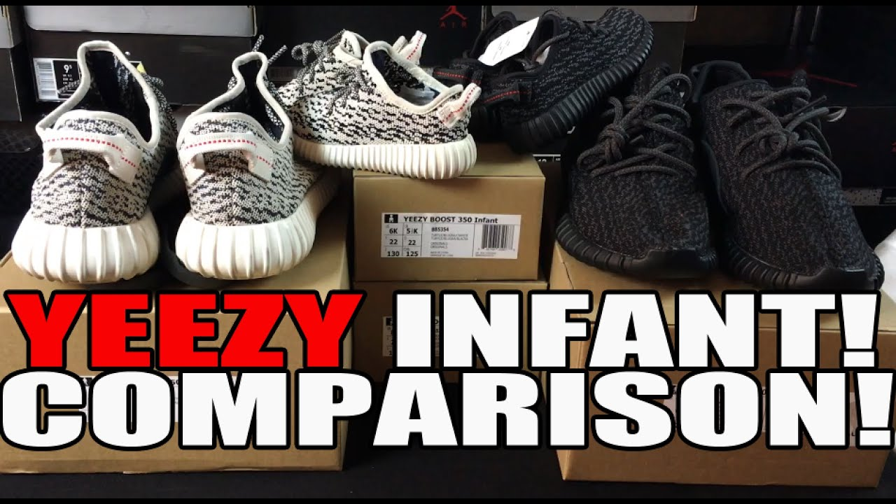 69427786ac8d8 YEEZY 350 BOOST COMPARISON  INFANT BABY TO MENS! (TURTLE DOVE   PIRATE  BLACK)