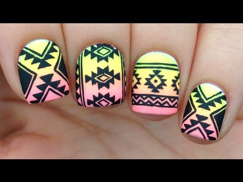 Nail Art Tutorial: Tribal / Aztec Print Over Neon Gradient