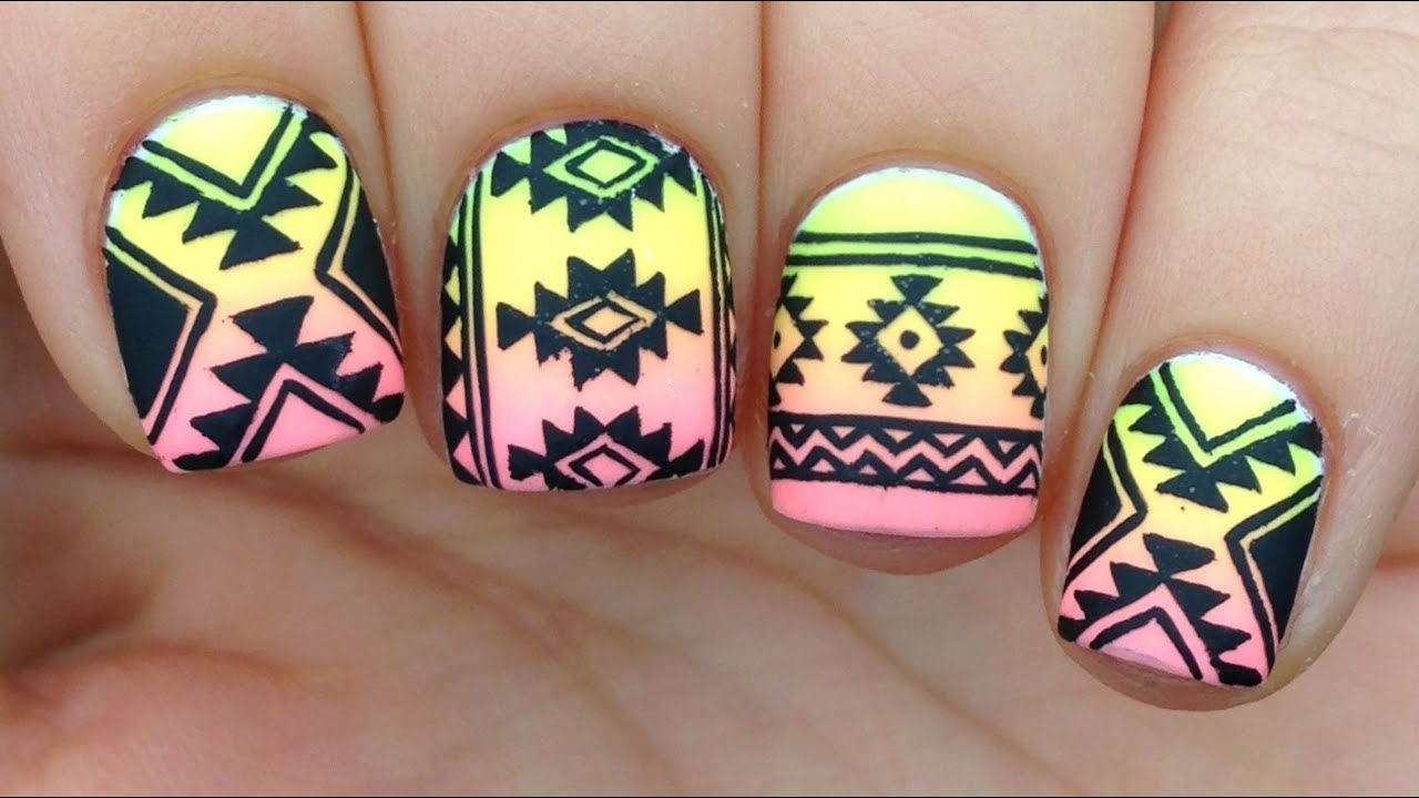 Nail Art Tutorial: Tribal / Aztec Print Over Neon Gradient - YouTube