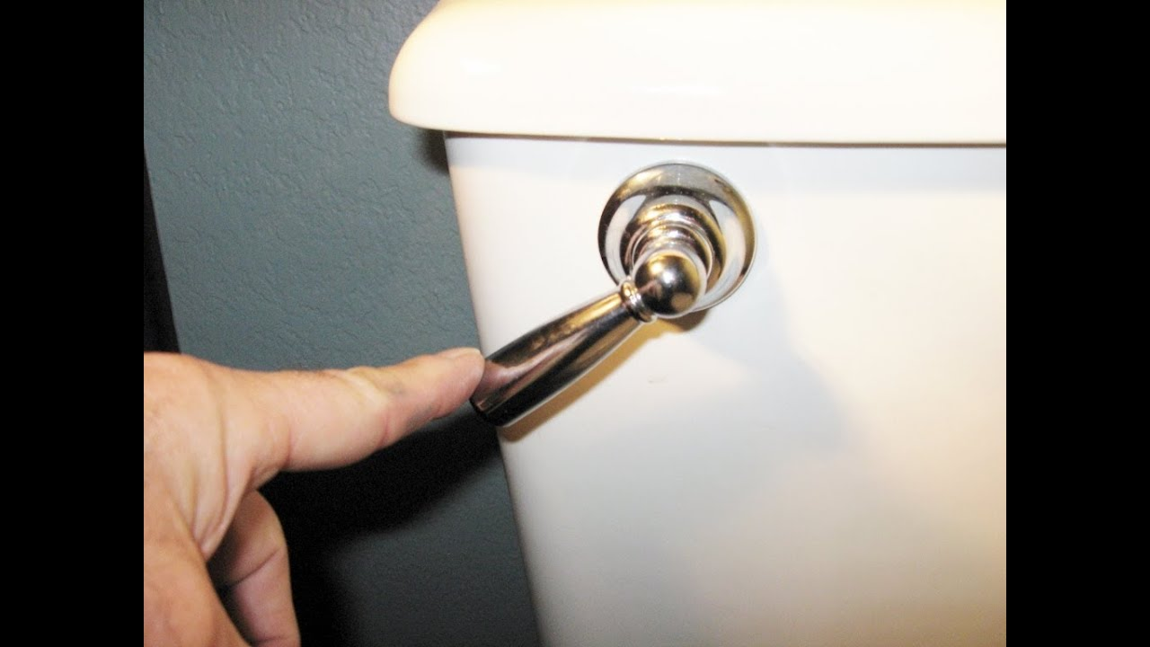 Home maintenance toilet running flushing handle stuck froggy - YouTube