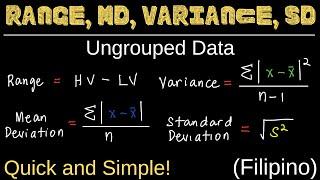 Range, Mean Deviation, Variance, aฑd Standard Deviation for Ungrouped Data | Measures of Variation