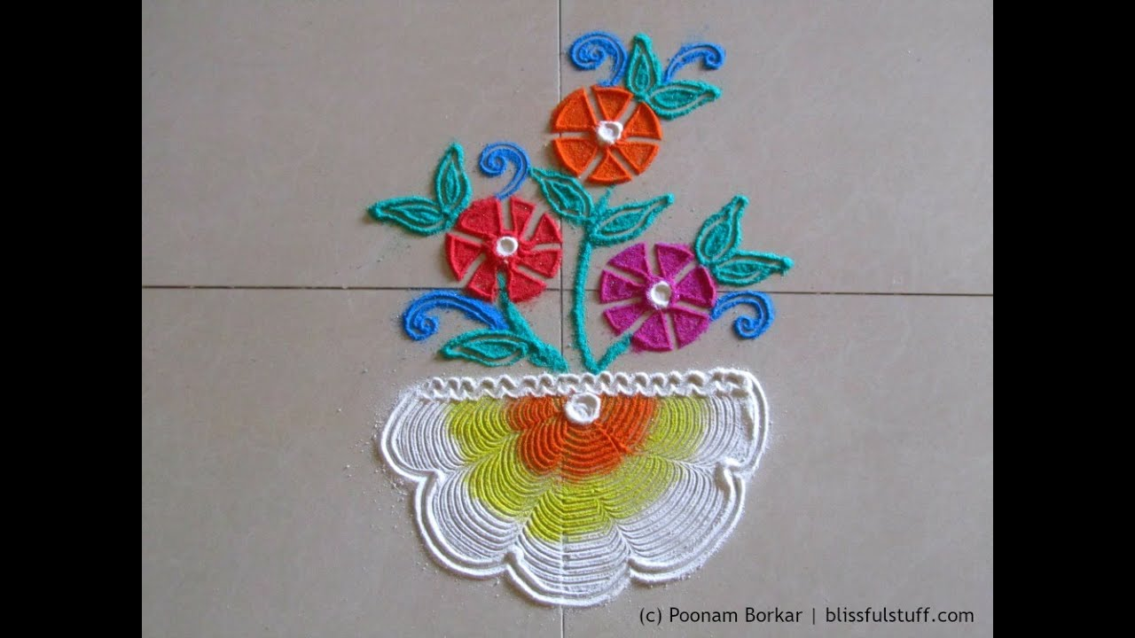 Easy and small flower pot rangoli using quilling comb Creative