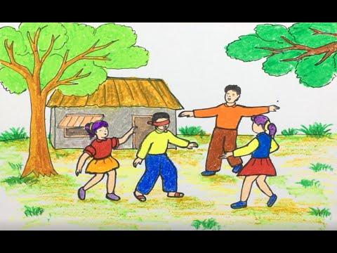 Vẽ tranh đề tài trò chơi dân gian / bịt mắt bắt dê / Painting topics folk games / Cong dan art #91