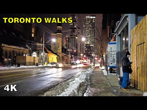 Downtown Toronto East Side After Midnight Walk on February 18, 2021