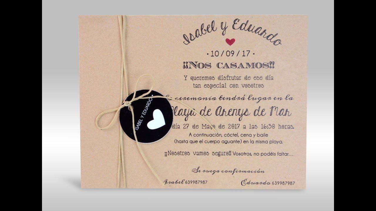Tarjetas de invitacion para bodas originales youtube - Tarjeta de boda ...