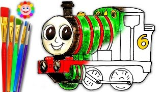 Coloring Thomas and Friends | How to DRAW PERCY the Small Tank Engine Learning Coloring Book Page
