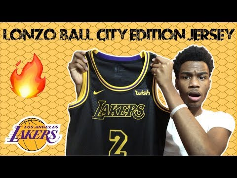 804e1cea9a7 Lonzo Ball Nike City Edition Swingman Lakers Jersey Unboxing & Review ! ! -  YouTube