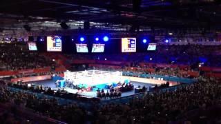 Irish crowd goes wild after Katie Taylor wins semi final @ London 2012