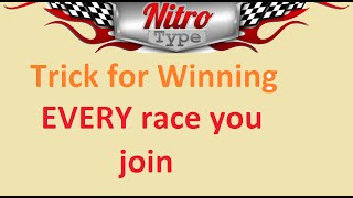 Nitro type Trick to Win EVERY race you Join (How to)
