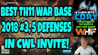 BEST TH11 WAR BASE 2018 #3! 5 DEFENSES IN CWL INVITE! CLASH OF CLANS POST UPDATE WHF