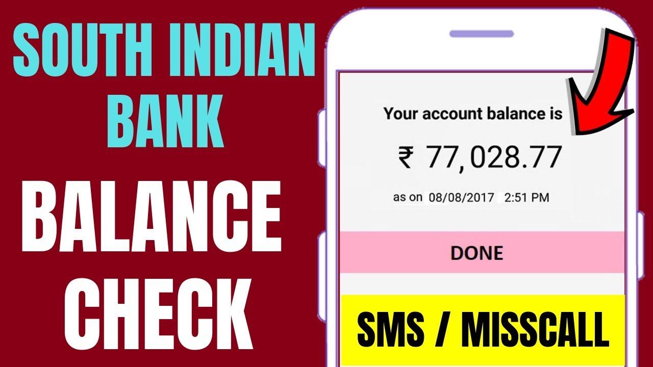 south indian bank balance check number