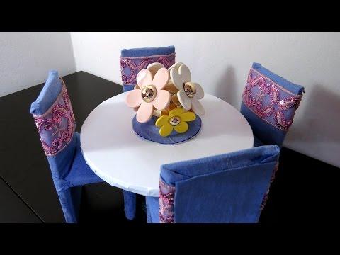 Mesa e Cadeiras para Barbie DIY