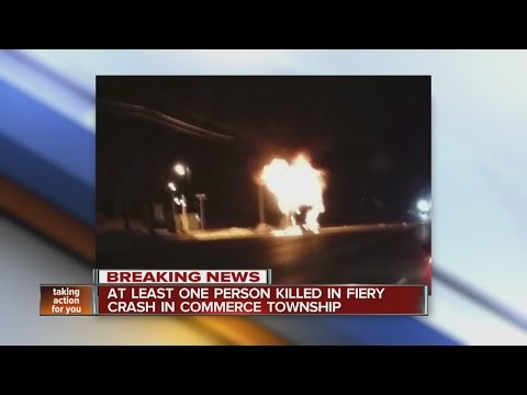 At least one person killed in fiery crash in Commerce Township