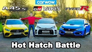 GR Yaris v AMG A45 v Civic Type-R battle: 0-60mph, lap time & brake test!