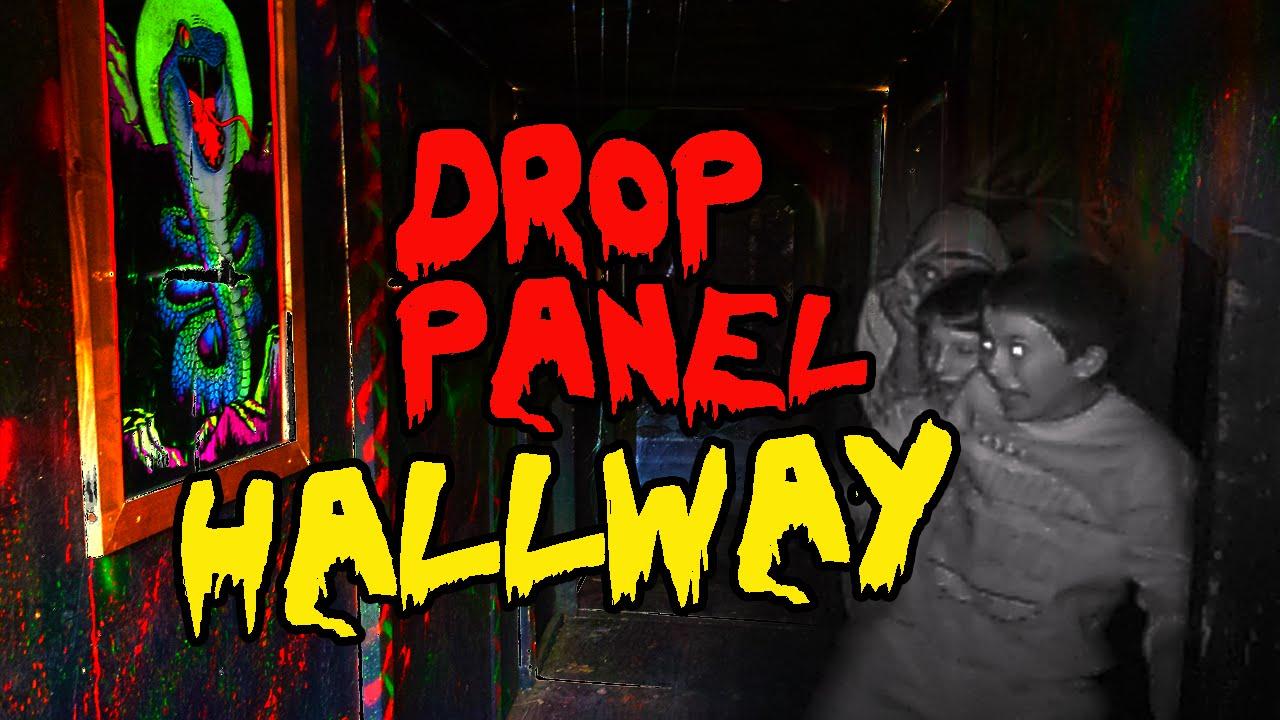 Halloween diy drop panel haunted hallway youtube for Haunted house hallway ideas