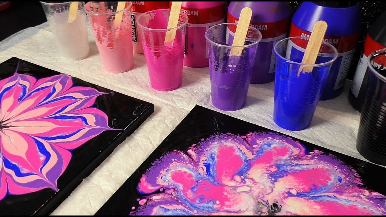 Easy Flower Acrylic Pouring ! Acrylic Pour Flower Painting for Beginners !