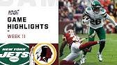 Jets vs. Redskins Week 11 Highlights | NFL 2019