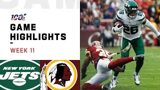 Jets vs. Redskins Week 11 Highlights | NFL 2019