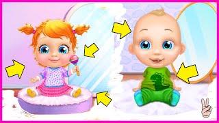 Играем в Игру Мультик для девочек, Примеряем одежду для мальчика и девочки! Ухаживаем за ребенком.