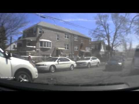 Old lady loses control of a car in the Bronx
