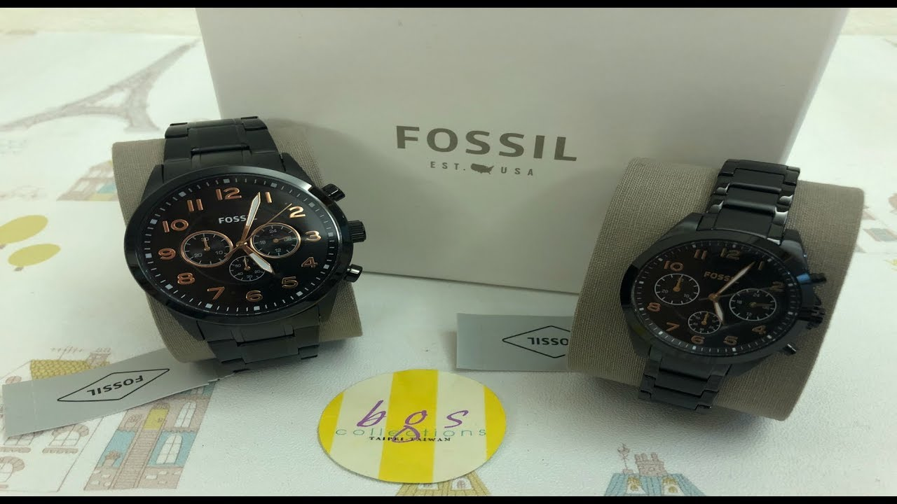 7754f8bf483d BQ2278SET FOSSIL HIS   HER CHRONOGRAPH BLACK STAINLESS STEEL WATCH GIFT SET