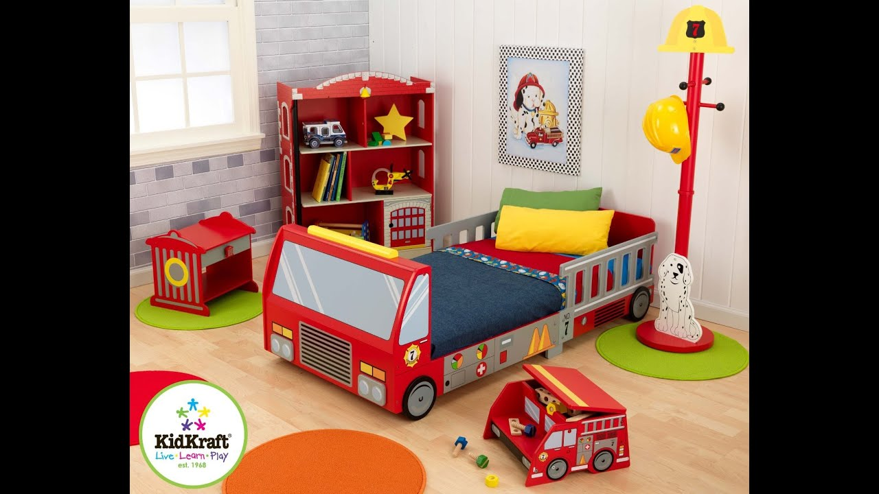 Review: KidKraft Fire Truck Toddler Bed - YouTube