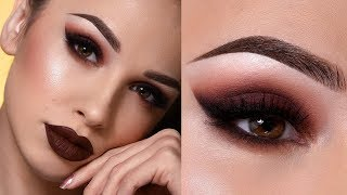 DARK BROWN FALL MAKEUP TUTORIAL | Sultry Smokey Eye & Dark Lips thumbnail