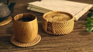 라탄 테이블 매트 핸드메이드 코스터 등나무 컵 냄비받침…