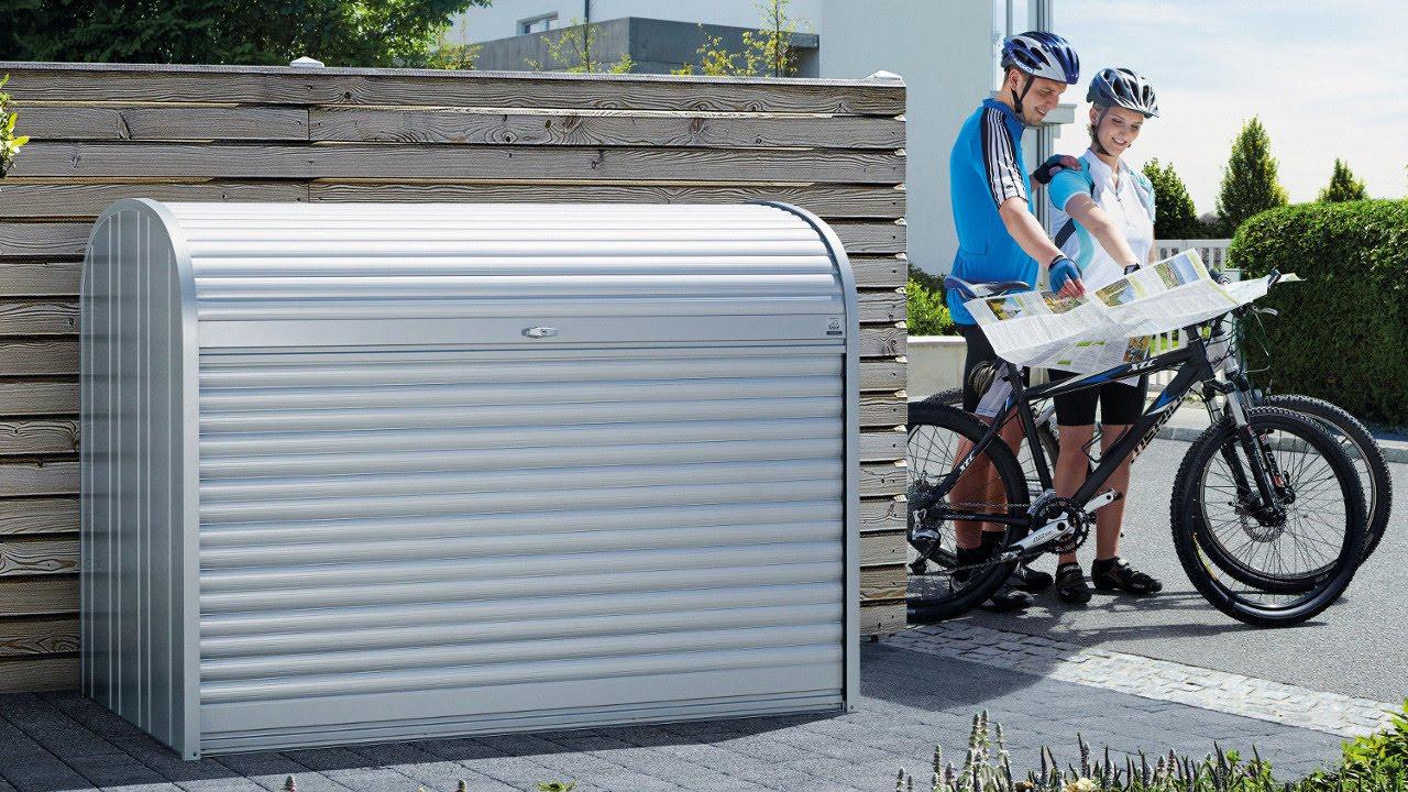 M 252 Lltonnenbox Fahrradgarage Storemax Von Biohort Youtube