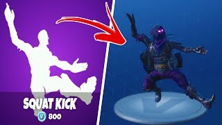 "NEW ""SQUAT KICK"" DANCE EMOTE USING RAVEN SKIN - Fortnite Battle Royale"