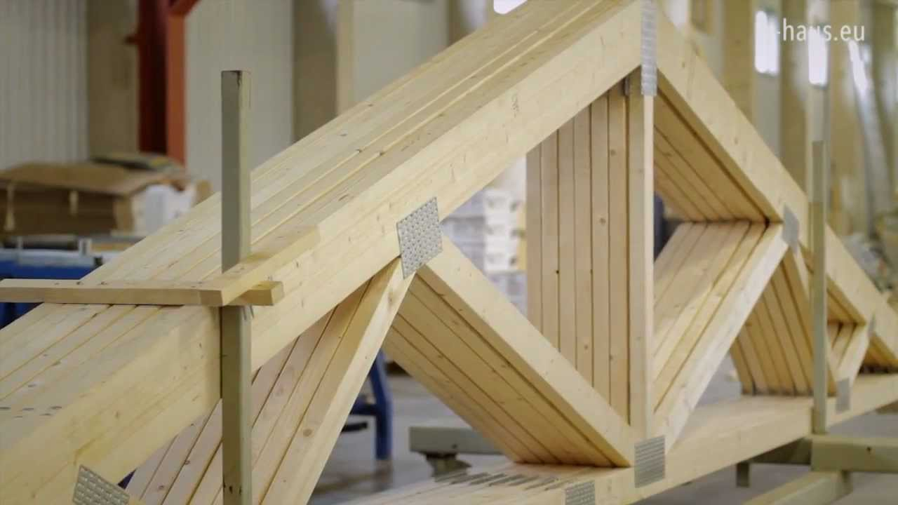 Q haus video roof trusses youtube for Manufactured roof trusses