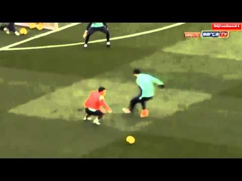 Cesc Fabregas Amazing Goal at Barcelona Open Training Session 2014