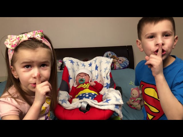 KIDS playing with little brother Are you sleeping brother John Song for kids Joy Joy Lika