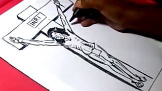 How to Draw LORD JESUS CROSS DRAWING step by step for KIDS
