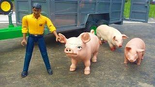 BRUDER farm trailer Pigs and horses...