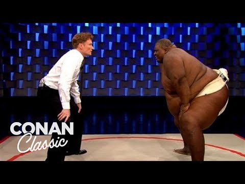"""Conan Challenges Sumo Wrestler Manny Yarbrough - """"Late Night With Conan O'Brien"""""""