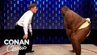"Conan Challenges Sumo Wrestler Manny Yarbrough - ""Late Night With Conan O'Brien"""