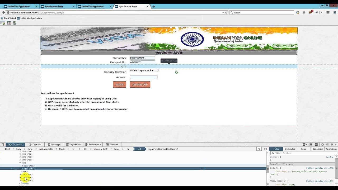 New Html + jquery update code for indian visa appointment date and indian  visa tips 2016