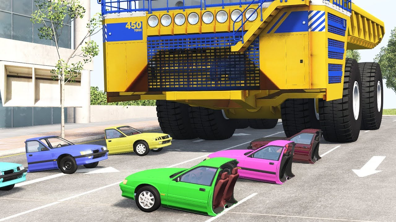 Belaz Crushes Cars - BeamNG Drive