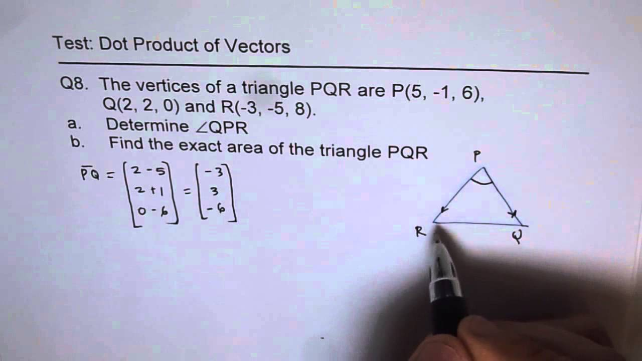 Find Area Of Triangle With Vectors
