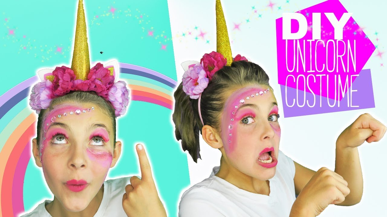 DIY Halloween Unicorn Costume and makeup tutorial for kids DIY Unicorn Horn  Kids Cooking and Crafts b9c3e0af843