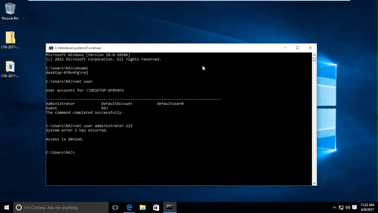 Bypass Admin access through guest Account in windows 10 (CVE-2017-0213)