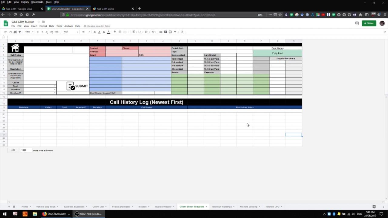 Google Sheets CRM 07 - Protection, Sharing, and Sheet Template