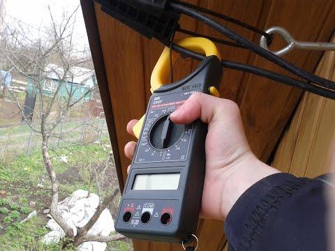 Замер тока на вводном кабеле  дома токовыми клещами