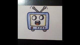 kAWAII РИСУНКИ   Как нарисовать телевизор  - How to draw a tv Как нарисовать милые рисунки