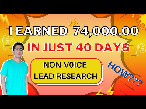 I Earned 74,000.00 In 40 Days (LEAD RESEARCH NON-VOICE HOMEBASED JOB)
